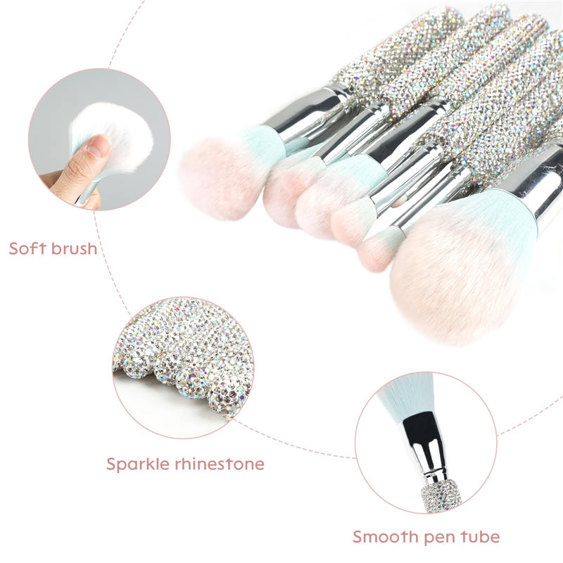 Bling Makeup Brushes Professional Face Cosmetics Blending Liquid Foundation Powder Concealer Eye Shadows Make Up Beauty Tool Glitter with Pouch Bag K (4)