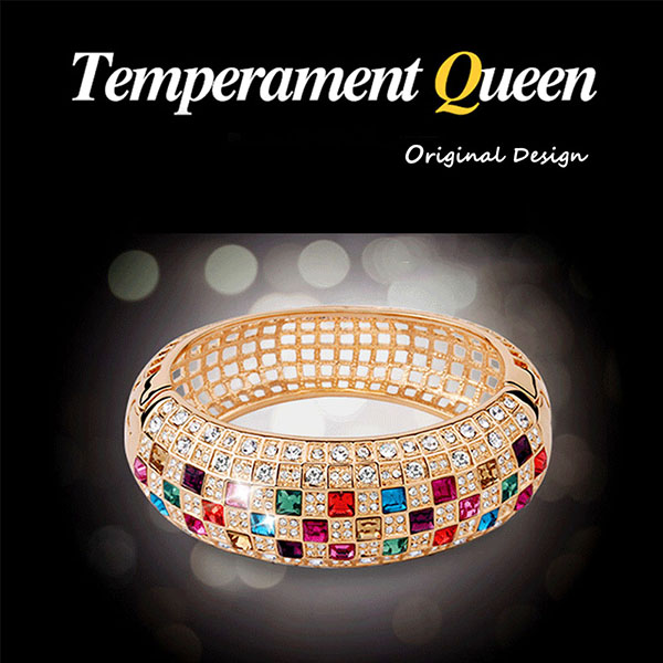 Colorful Crystal Personalized Women Sparking Bracelet with AAA Cubic Zirconia Wristband Wedding Bangle Jewelry3