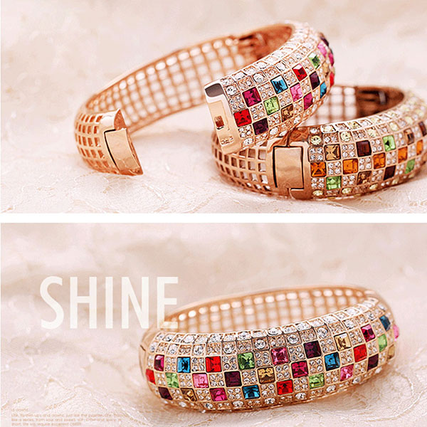 Colorful Crystal Personalized Women Sparking Bracelet with AAA Cubic Zirconia Wristband Wedding Bangle Jewelry4