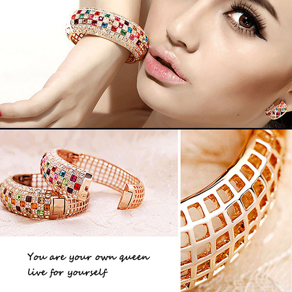 Colorful Crystal Personalized Women Sparking Bracelet with AAA Cubic Zirconia Wristband Wedding Bangle Jewelry6