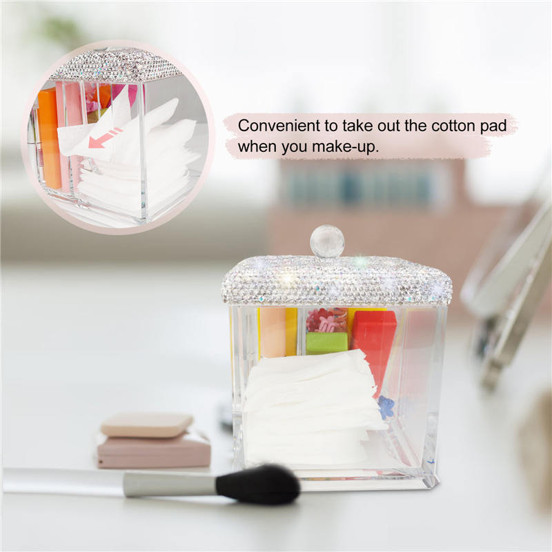 Gauze, Cotton Pads, Cotton Swabs, Nail Polish and Lipstick Storage Box with Cover, 3 Compartments Display Makeup Organizer Bli (3)