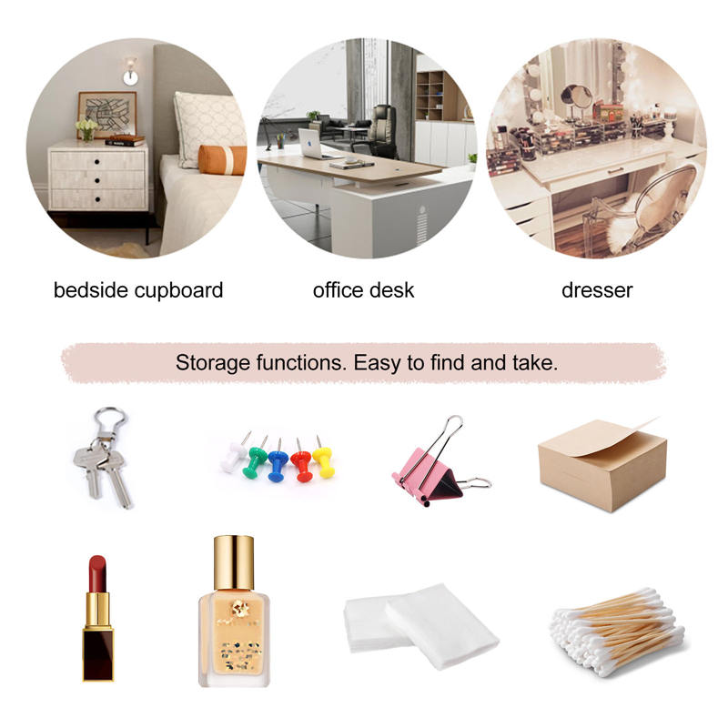 Gauze, Cotton Pads, Cotton Swabs, Nail Polish and Lipstick Storage Box with Cover, 3 Compartments Display Makeup Organizer Bli (4)