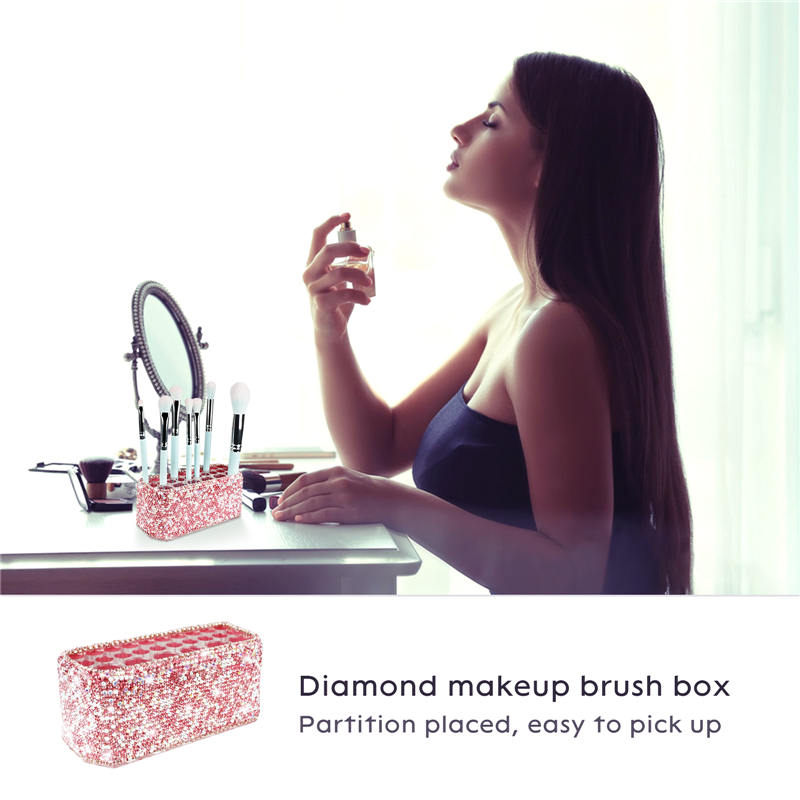 Makeup Beauty Brush Bling Crystal Luxury Organizer for Slim Handles  26 Space Cosmetic Storage Display Container (3)