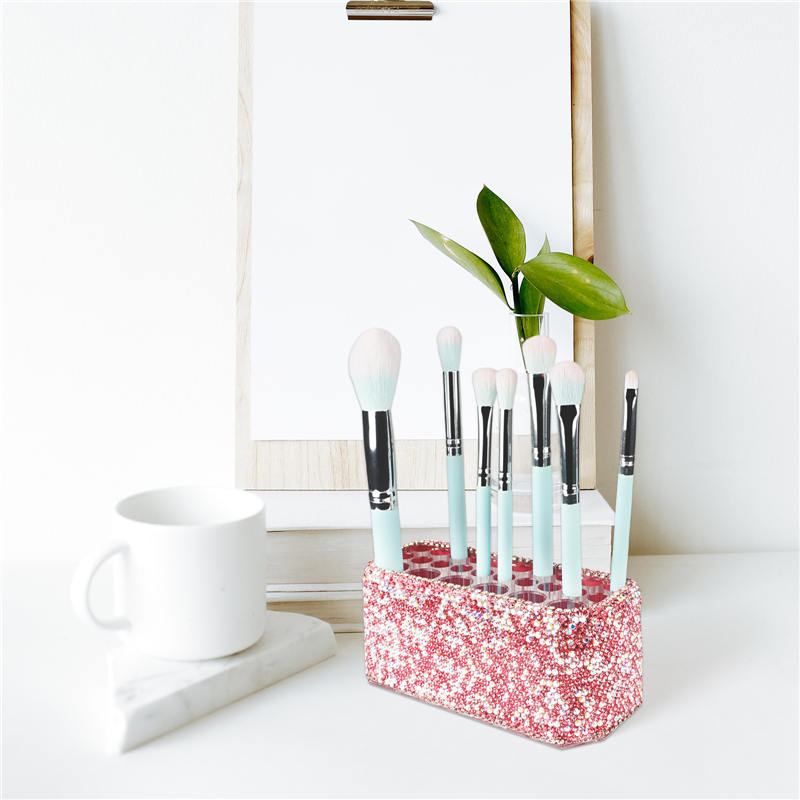Makeup Beauty Brush Bling Crystal Luxury Organizer for Slim Handles  26 Space Cosmetic Storage Display Container (7)