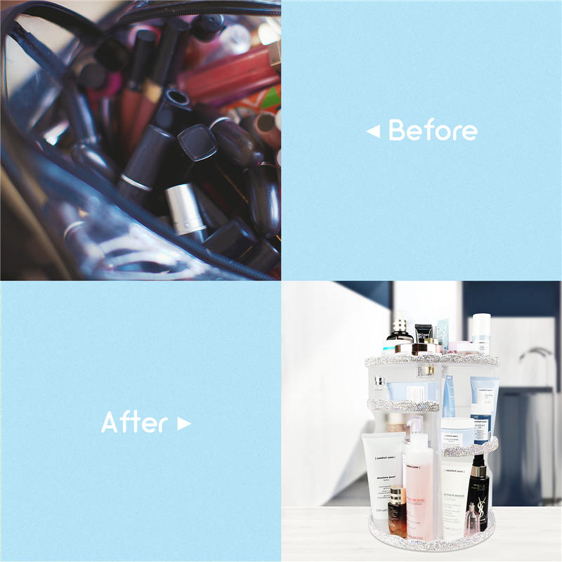 Makeup Organizer, 360 Degree Rotating Adjustable Cosmetic Organizer Makeup Storage Carousel Brush Lipstick Holder for Bathroom Vanity, (3)