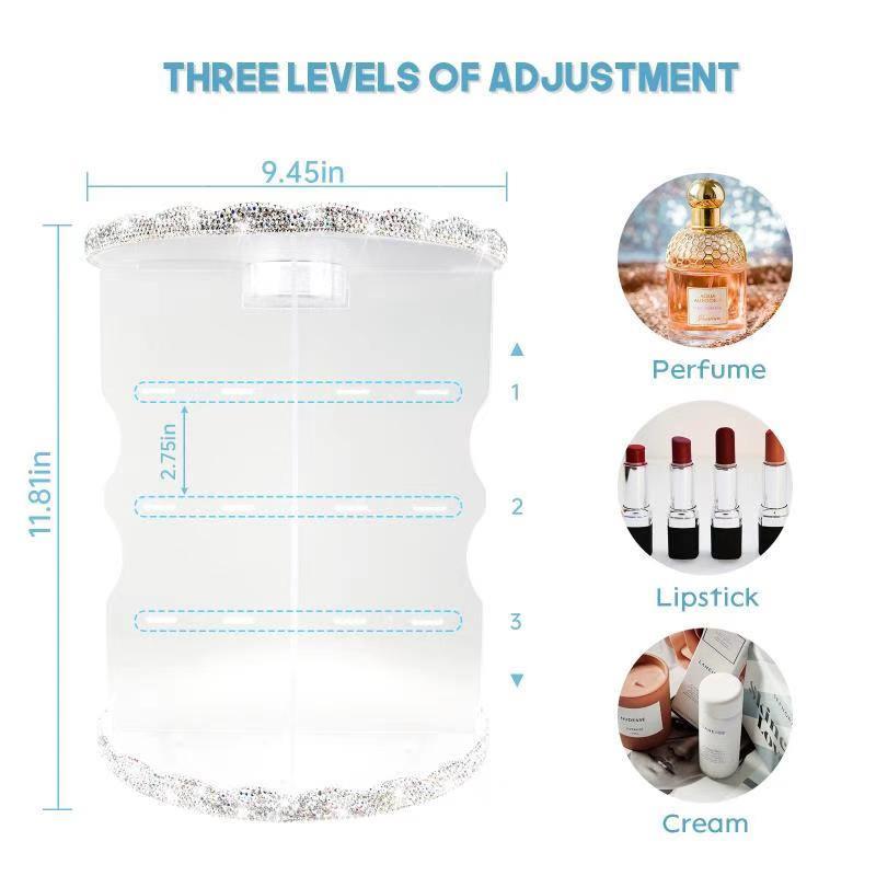 Makeup Organizer, 360 Degree Rotating Adjustable Cosmetic Organizer Makeup Storage Carousel Brush Lipstick Holder for Bathroom Vanity, (5)