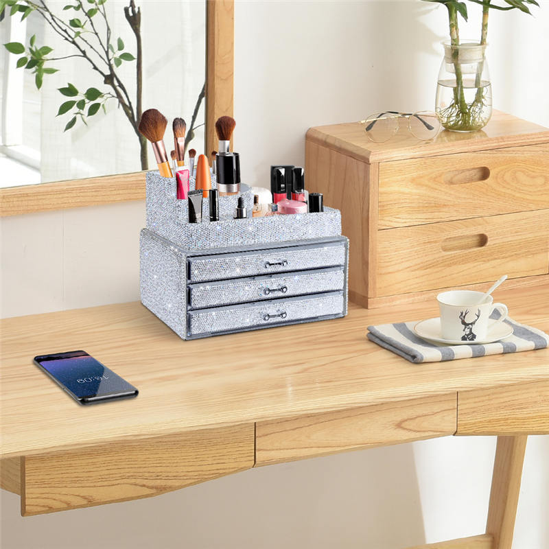 Makeup Organizers Drawer,Jewelry Cosmetic Storage Display Boxes, Makeup Brush Holder, Cosmetic Holder,Bling Diamond Countertop Jewelr (4)