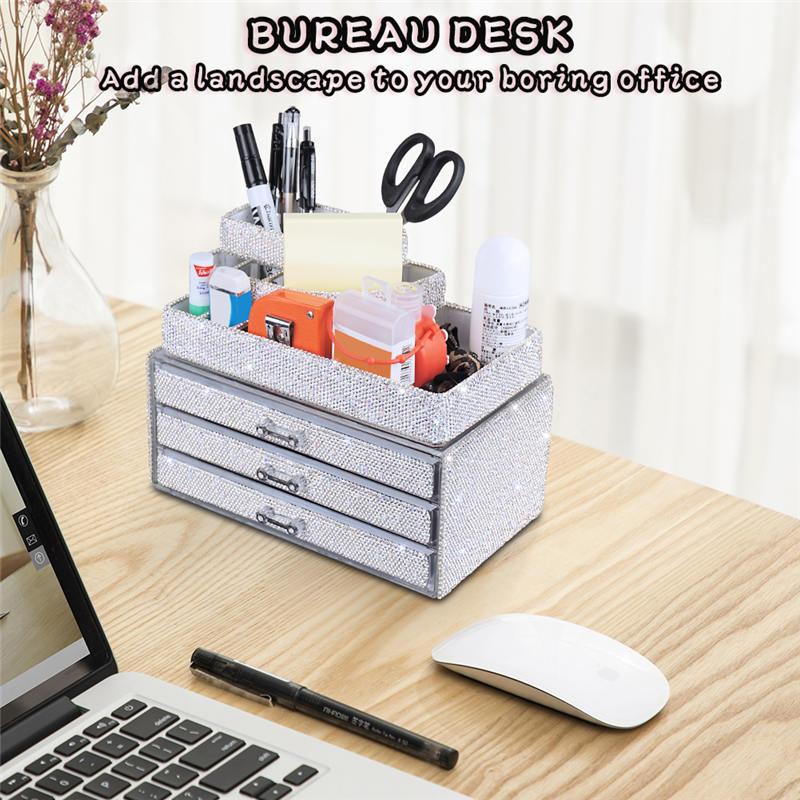 Makeup Organizers Drawer,Jewelry Cosmetic Storage Display Boxes, Makeup Brush Holder, Cosmetic Holder,Bling Diamond Countertop Jewelr (5)