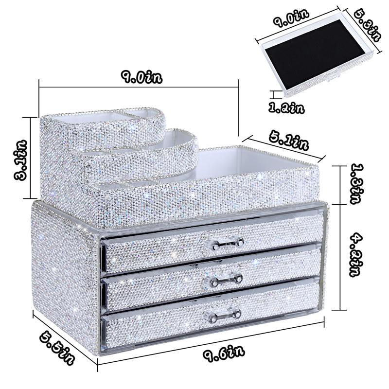 Makeup Organizers Drawer,Jewelry Cosmetic Storage Display Boxes, Makeup Brush Holder, Cosmetic Holder,Bling Diamond Countertop Jewelr (7)