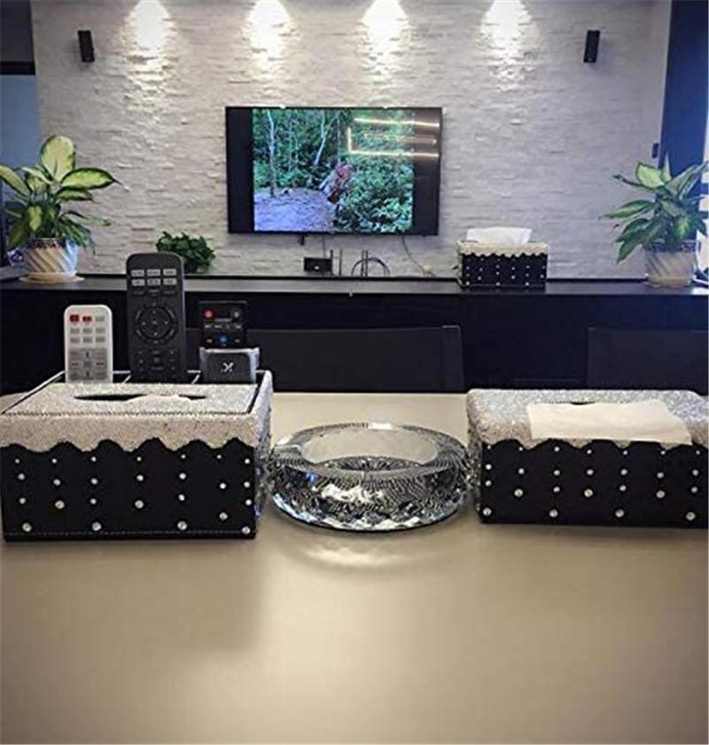 Silver Bling Bling Crystal Tissue Holder Box Luxury Rectangular Facial Tissue Box Holder for Home Car Office (NO Paper Towel)  (2)