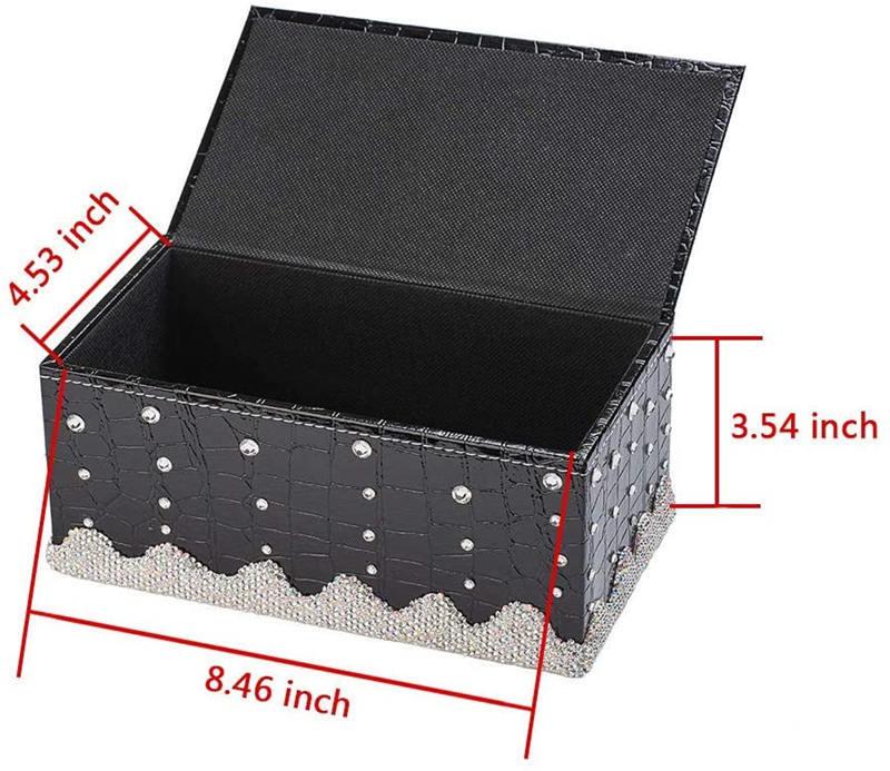 Silver Bling Bling Crystal Tissue Holder Box Luxury Rectangular Facial Tissue Box Holder for Home Car Office (NO Paper Towel)  (7)
